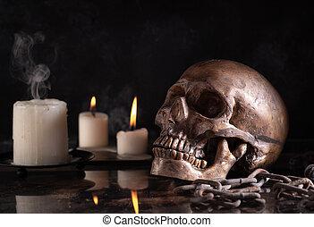 pauroso, sfondo nero, cranio umano