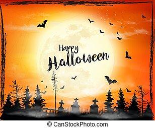 pauroso, vector., fondo., halloween