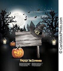 pauroso, vector., legno, segno., halloween, fondo