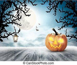pauroso, vector., moon., halloween, fondo, zucca