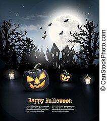pauroso, vector., moon., halloween, zucche, fondo