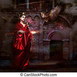 pauroso, witchcraft., antico, mantello, -, avvoltoio, mysticism., hawk., castello, rosso, sorcerer