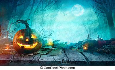 pauroso, zucche, halloween