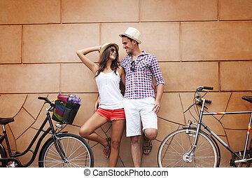 paus, efter, till, cykling, i staden