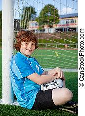 paus, spelare, fotboll, ung, ha