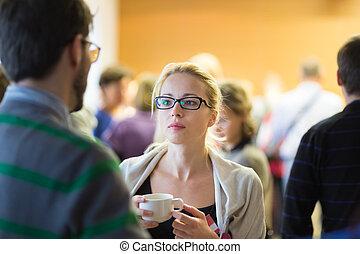 pausa caffè, meeting., affari