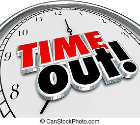 pausa, orologio, fermata, rottura, parole, tempo, azione, fuori