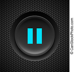 Pause button. - Black button with blue pause sign on carbon ...