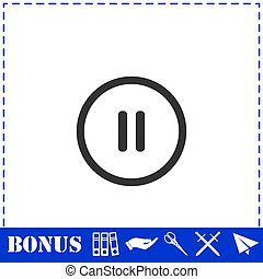 Pause button icon flat
