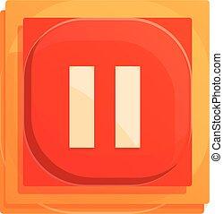 Pause button interface icon, cartoon style
