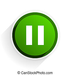 pause flat icon with shadow on white background, green modern design web element