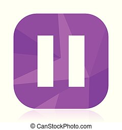 Pause flat vector icon. violet web button. internet square sign. modern design symbol in eps 10.
