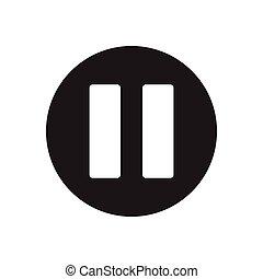 pause  glyph flat icon