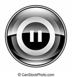 Pause icon black, isolated on white background.