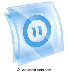 Pause icon blue, isolated on white background.