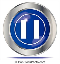 Pause Icon Button - A large blue pause symbol button over a ...