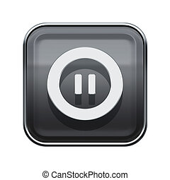 Pause icon glossy grey, isolated on white background