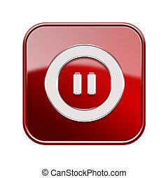 Pause icon glossy red, isolated on white background