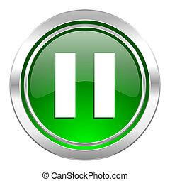 pause icon, green button