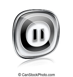 Pause icon grey glass, isolated on white background.
