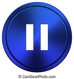 Pause icon - Metallic icon with white design on blue...