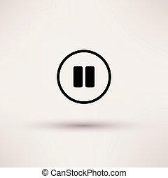 pause, illustration., isolé, coupure, vecteur, icône