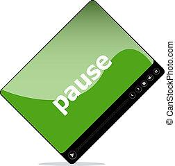 pause, média, isolé, joueur, interface, blanc