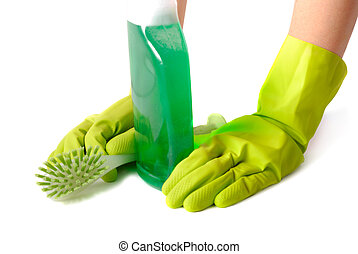 Pause Of Housekeeper - Gloved hands with brush and green...