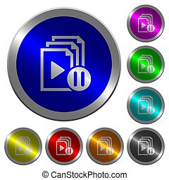 Pause playlist luminous coin-like round color buttons