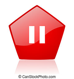 pause red web glossy icon