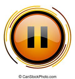 pause round design orange glossy web icon