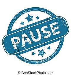 PAUSE round stamp