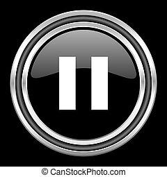 pause silver chrome metallic round web icon on black background