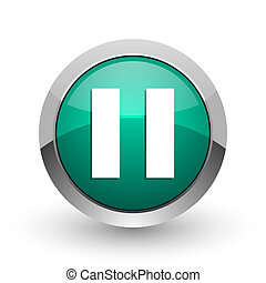 Pause silver metallic chrome web design green round internet icon with shadow on white background.