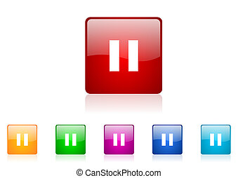 pause square web glossy icon colorful set