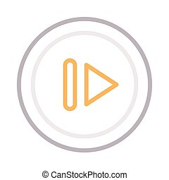 pause thin color line vector icon
