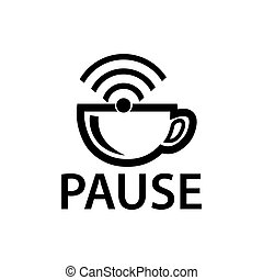 Pause with wifi icon, flat design. Vector Illustration on white background