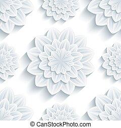 pauta flor, seamless, crisantemo, plano de fondo, 3d