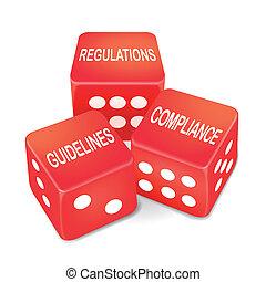 pautas, dados, conformidad, tres, regulaciones, palabras, rojo