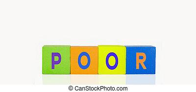 pauvre, bâtiment, blocs jouet, coloré