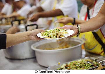 pauvre, chaud, charité, nourriture, sdf, :, donner, concept