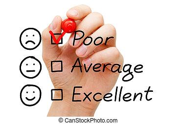 pauvre, client, évaluation, service, formulaire