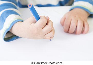 pauvre, crayon, enfantqui commence à marcher, prise, démontre