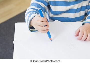 pauvre, crayon, projection, enfantqui commence à marcher, prise