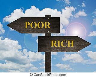 pauvre, directions., riche