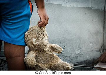 pauvre, enfant, tenue, ours, teddy