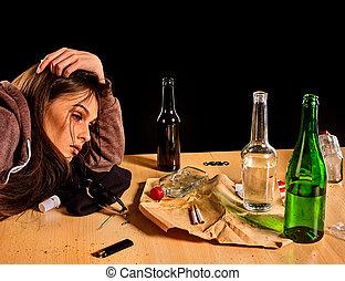 pauvre, femme, problem., femme, alcoolisme mondain, cause, ...