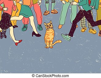 pauvre, foule, gens., chat, rue, sdf