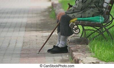 pauvre, grand-mère, retraité, concept, style de vie, séance...