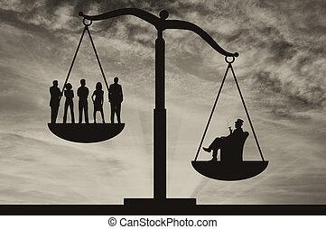 pauvre, homme affaires, riche, balances, gens